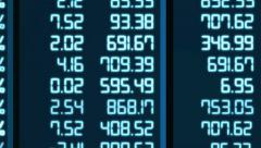Stock Video Footage of Market analysis results change in electronic board cells, indices rise and fall