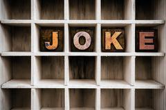 Joke Concept Wooden Letterpress Type in Draw - stock photo