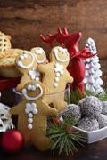 Traditional Christmas sweets and party food. - stock photo