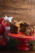 Traditional Christmas Rich Fruit Cake. - stock photo