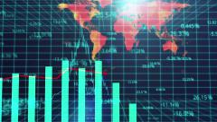 Computer generated presentation of global market review, statistical analysis - stock footage