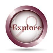 Explore icon. Internet button on white background.. - stock illustration