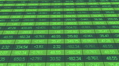 Computer generated shot of financial markets summary table with real time data - stock footage