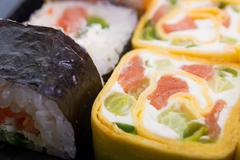 Traditional Japanese food Sushi. Sushi collection Stock Photos