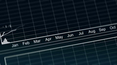 Curves going up and down on chart, presentation of annual financial statement - stock footage