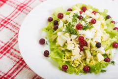 Dietary salad from avocado, eggs, and cowberry on red tablecloth Stock Photos