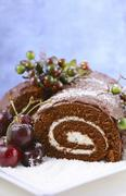 Christmas Yule Log Cake. - stock photo