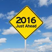 New year 2016 just ahead road sign - stock photo