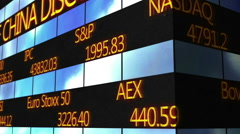 Trading data running on electronic ticker, stock market quotes, exchange prices - stock footage