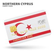 Credit card with Northern Cyprus flag background for bank, presentations and - stock illustration