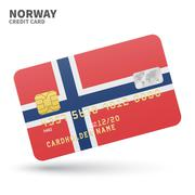 Credit card with Norway flag background for bank, presentations and business Stock Illustration