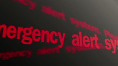 Emergency alert system. Please stand by. Warning red text running on PC display Stock Footage