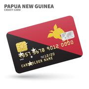 Stock Illustration of Credit card with Papua New Guinea flag background for bank, presentations and