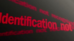 Access denied. Identification not recognized. Red text running on pc display - stock footage