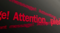 Attention please. Important message. System alert. Red text running on screen - stock footage