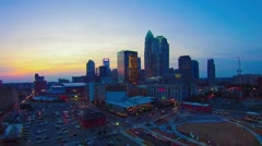 Aerial footage over charlotte city skyline north carolina Stock Footage