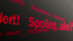 Spoiler alert text running on TV screen. Plot reveal warning in articles, films Stock Footage