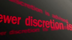 Viewer discretion is advised text running on TV screen. Graphic content warning - stock footage