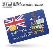 Stock Illustration of Credit card with South Georgia and Sandwich Islands flag background for bank