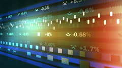 Animated ticker showing stock market fluctuations, percentage indices running Stock Footage