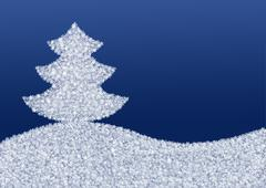 Blue background with a Christmas tree made of snowflakes - stock illustration