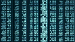Computer-generated shot of trade results updating on Chinese stock market board - stock footage