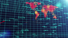 Animated bar chart fluctuating on world map background, global economic crisis - stock footage