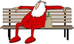 Drunk Santa on a park bench - stock illustration