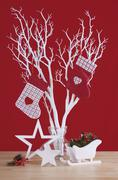 Red and white theme Christmas table decorations. - stock photo