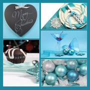 Aqua blue theme Merry Christmas and Happy Holidays collage of blackboard gree Stock Photos