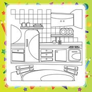 Coloring book with kitchen - vector illustration. - stock illustration