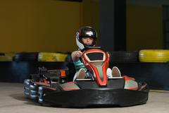 Young Woman Driving Go-Kart Karting Race Stock Photos