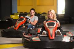 Group Of People Driving Go-Kart Karting Race Stock Photos