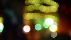 Stock Video Footage of defocused holiday christmas lights in the city