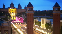 Magic Fountain in the night, Barcelona, Spain Stock Footage