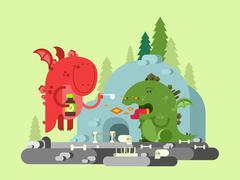 Ill dragon character Stock Illustration