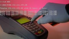 Stock Video Footage of 4K Hacking Credit Card Terminal Coding Overlay