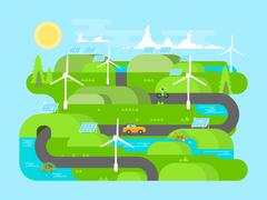 Green energy flat design Stock Illustration
