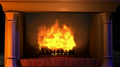 The flames of the fire in the fireplace - stock footage