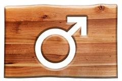 Male symbol cut in wooden board isolated on white. - stock photo