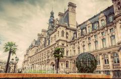 Hotel de Ville in Paris, France. City hall building. Vintage Stock Photos