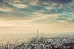 Paris, France vintage skyline, panorama. Eiffel Tower, Champ de Mars - stock photo