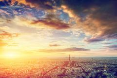 Paris, France skyline, panorama at sunset. Eiffel Tower, Champ de Mars Stock Photos