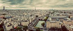 Paris, France panorama with Eiffel Tower, Seine river and bridges. Vintage Stock Photos