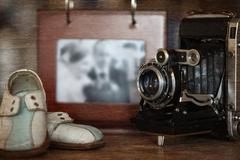 Still life stylized wedding photography and old camera Stock Photos