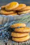Shortbread cookies with lavender. Stock Photos