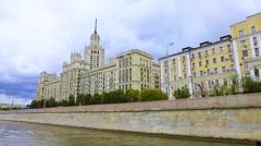 Building 20-th century russia river summer bund Stock Footage