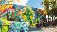 Family Photoshoot at Wynwood Wall Miami Stock Footage