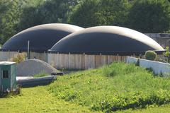 Green bioenergy with a biogas production facility Stock Photos
