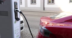 Electric Car Refuel With Power 4k Stock Footage